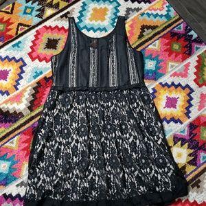 Lane Bryant lace overlay sleeveless dress in black